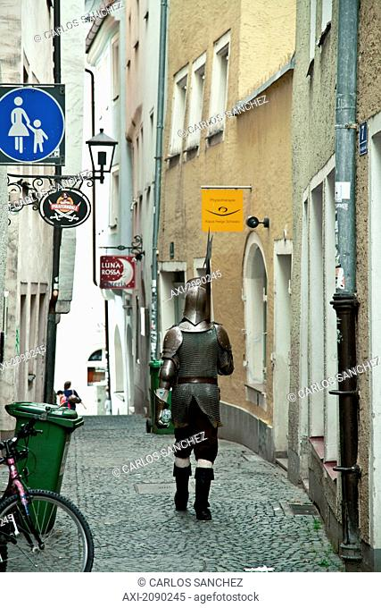 Actor Dressed As A Medieval Knight In The Center Of The City Of Regensburg, Germany