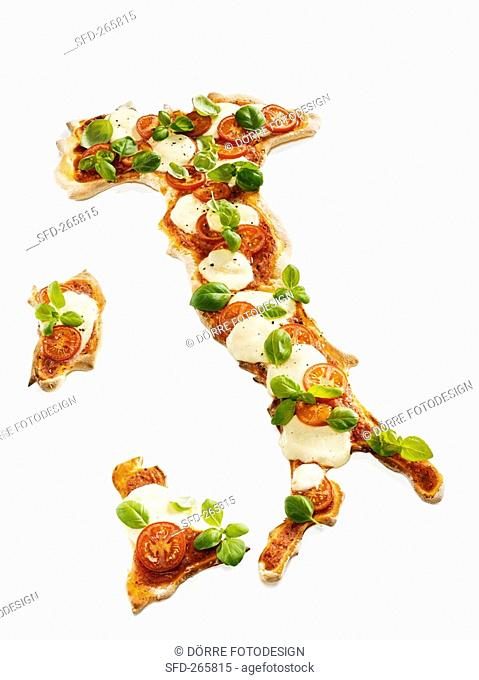 Mozzarella pizza in the shape of the map of Italy