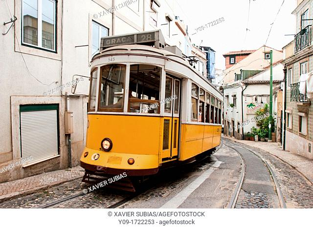 Tramway, Alfama, Lisbon, Portugal