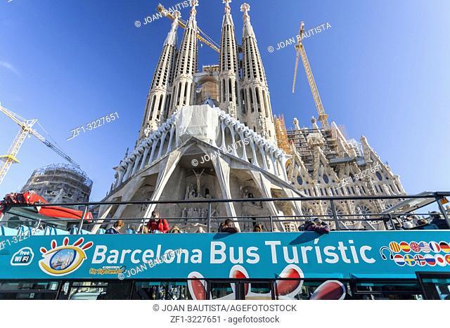 Barcelona bus Touristic front famous Sagrada Familia, by Antoni Gaudi, Barcelona