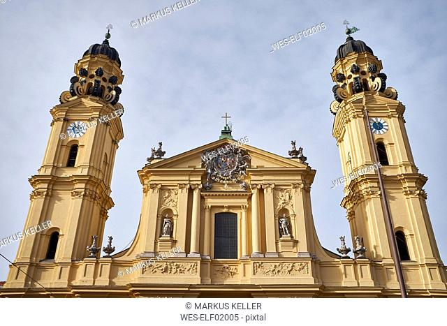 Germany, Bavaria, Munich, facade and towers of the Theatine Church