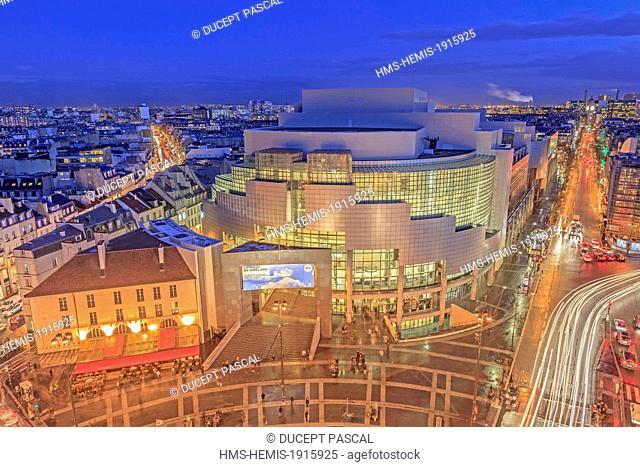 France, Paris, Place de la Bastille, the Bastille Opera by architect Carlos Ott from the July Column (Colonne de Juillet)