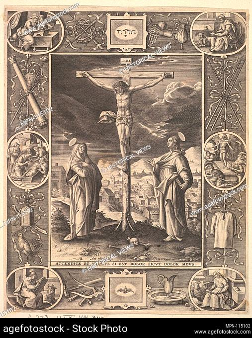 Christ on the Cross. Artist: Antonius Wierix, II (Netherlandish, Antwerp 1555/59-1604 Antwerp); Date: before 1586; Medium: Engraving; Dimensions: Sheet: 9 7/16...