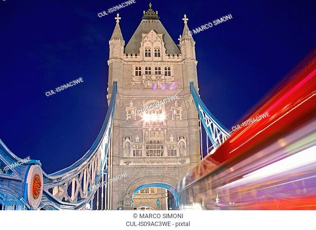 Tower Bridge and double decker bus, London, UK