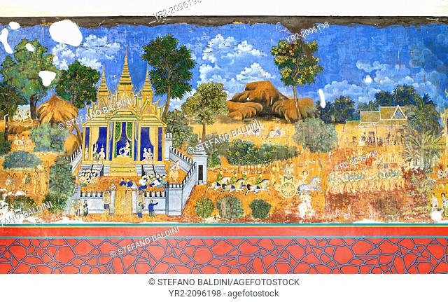 Reamker frescoes adorning the walls of the royal palace complex in Phnom Penh, Cambodia