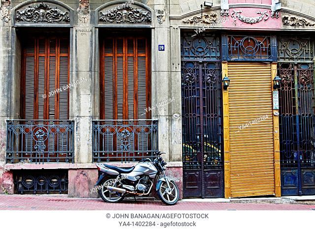 Motorbike in street, San Telmo,Buenos Aires,Argentina