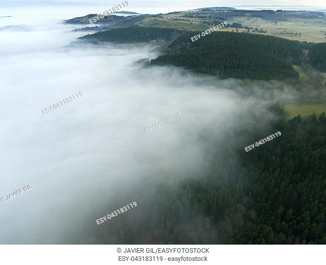 Fog in Orcines, Puy-de-Dome, Auvergne-Rhone-Alpes, France