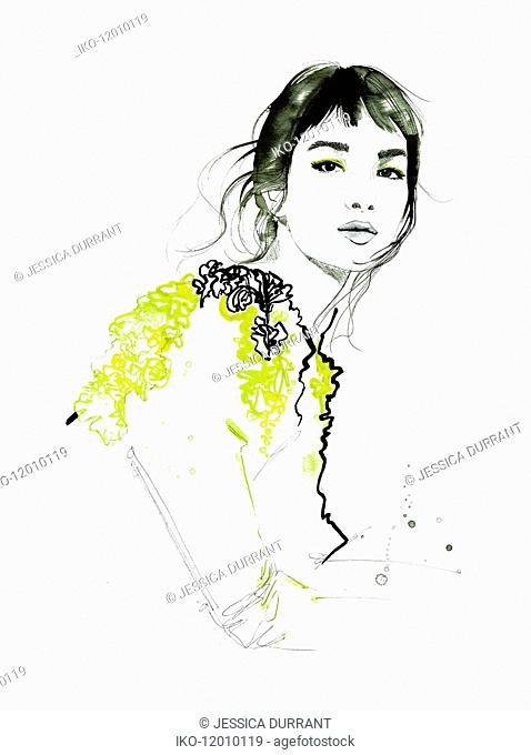 Fashion illustration of beautiful woman looking at camera wearing ruffled top