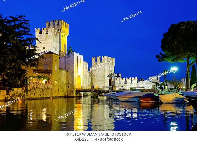 Scaliger Castle (Castello Scaligero) in Sirmione on Lake at Night, Garda, Lombardy, Italy, Europe