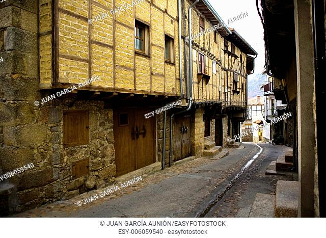 Typical street and houses of San Martin de Trevejo, small village declarated Historical-Artistic Site, located in Sierra de Gata, Caceres, Extremadura, Spain