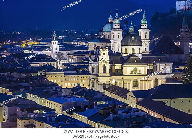 Austria, Salzburgerland, Salzburg, elevated city view, dusk