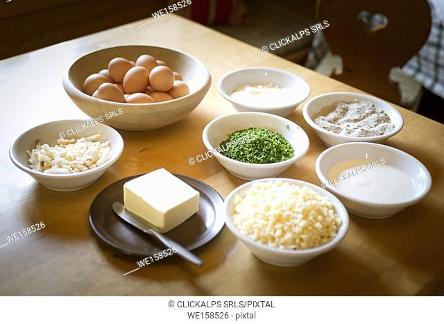 the typical ingredients for cooking the dumplings, Bolzano province, South Tyrol, Trentino Alto Adige, Italy,