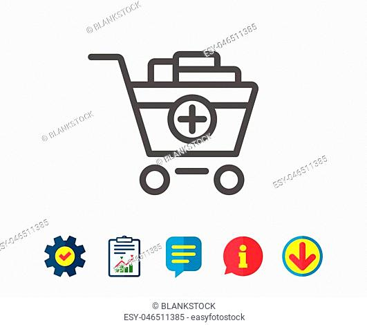 Add to Shopping cart line icon. Online buying sign. Supermarket basket symbol. Report, Service and Information line signs