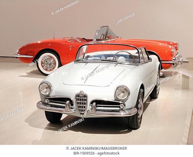 Alfa Romeo and Corvette, Mitomacchina exhibition, Museum of Modern Art, MART, Rovereto, Italy, Europe