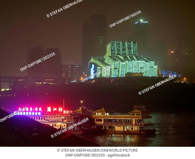 China, Chongqing, pier for Yangzte river cruise ships at night