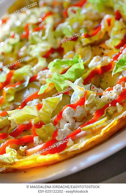 Ham and Cheese Omelette with vegetables