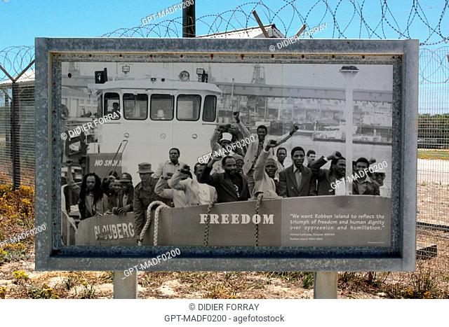 ARCHIVE PHOTO SHOWING THE LIBERATION OF POLITICAL PRISONERS AND THEIR RETURN TO THE CAPE, FORMER PRISON ON ROBBEN ISLAND WHERE NELSON MANDELA WAS HELD DURING...