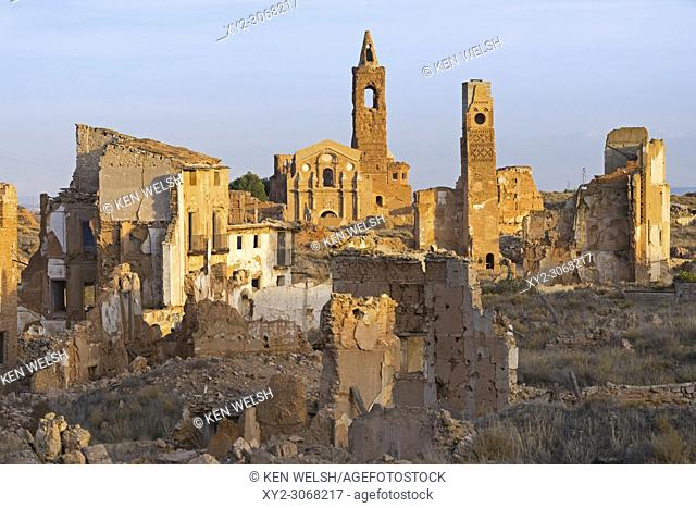 Ruins of Belchite, Zaragoza Province, Aragon, Spain. The town was destroyed in the Battle of Belchite August 24 to September 7, 1937