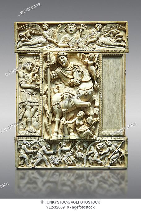 Medieval ivory relief panel from a diptych depicting a triumphant Byzantine Roman Emperor, probably Justinian. From Constantinople, 6th century. Inv