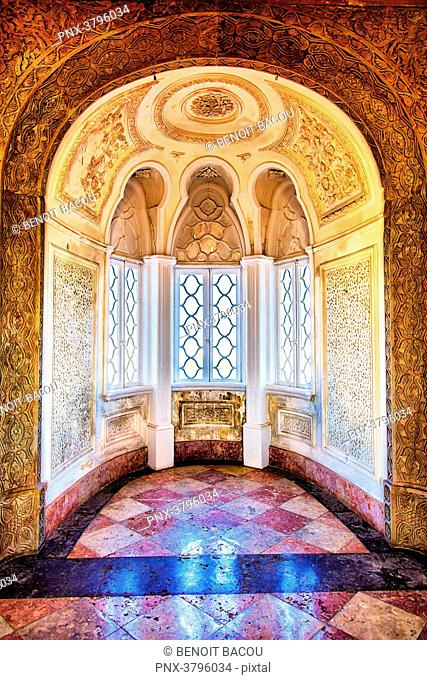 Architecture inside the Palace of Pena, Sintra, Lisbon area, Portugal