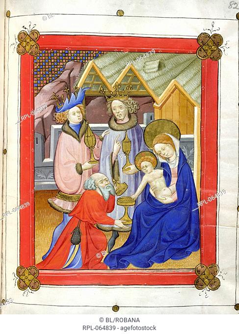 Adoration of the Magi Whole folio The Virgin holds Christ who reaches out to acknowledge the gift offered by the kneeling Magi