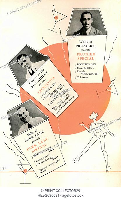 'Cocktail recipes', c1935 (1935). Artist: Unknown