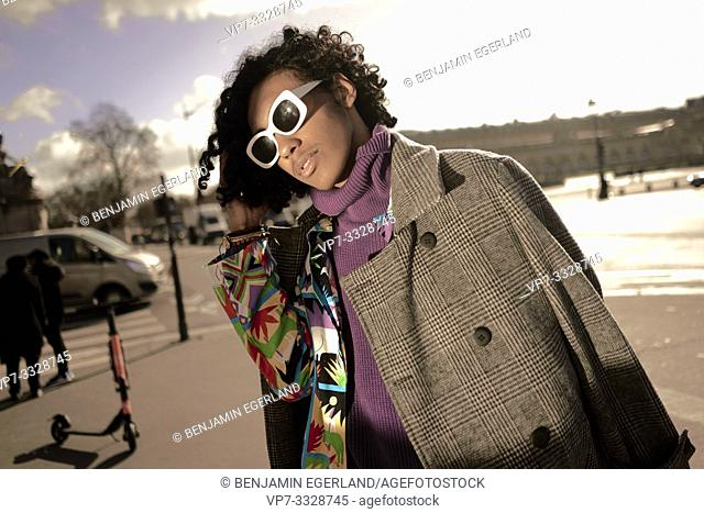 young fashion model man, in Paris, France