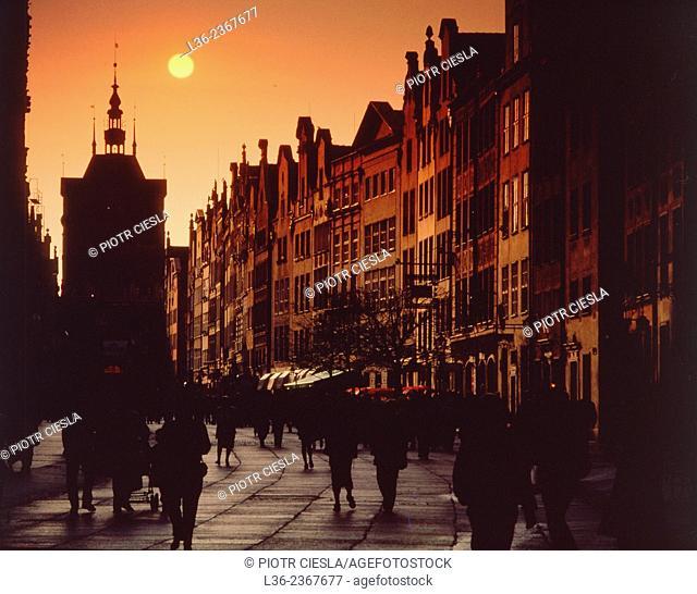 Poland. Gdansk Old Town. Dluga (Long) street