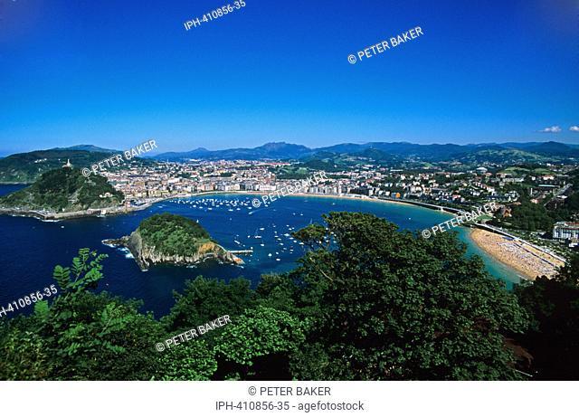 San Sebastian - Looking down on the bay from Monte Igeldo showing Isla Santa Clara