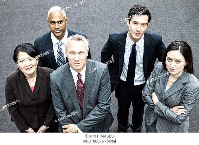 Closeup of a mixed race group of business people