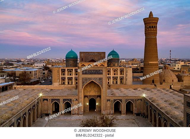 Kalon Mosque and minaret at dusk, Bukhara, Uzbekistan