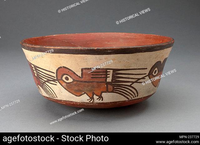 Bowl Depicting a Row of Hummingbirds - 180 B.C./A.D. 500 - Nazca South coast, Peru - Artist: Nazca, Origin: Nazca Valley, Date: 180 BC-500 AD