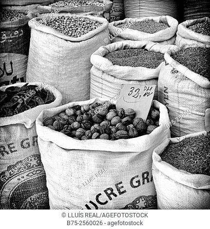 Sacks of grains and nuts with handwritten prices in a market store in Meknes, Mekines, Historic City, Heritage, Morocco, Africa