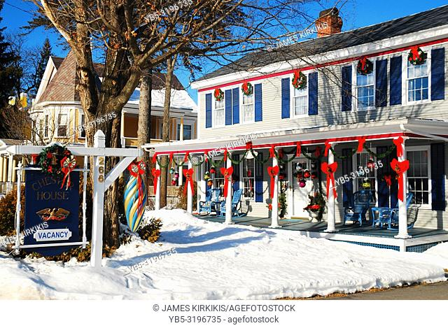 Christmas decorations on an inn in Vermont