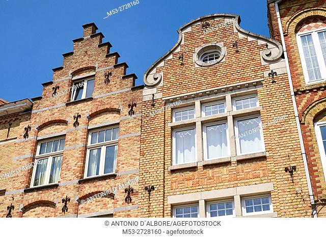 Flemish style homes. Ypres. West Flanders. Belgium