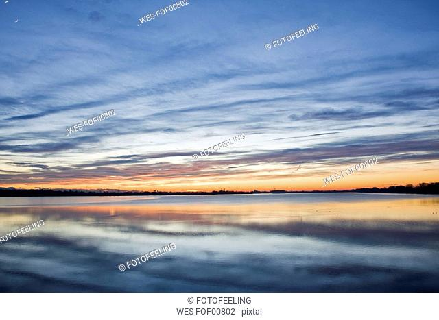 Germany, Bavaria, Speichersee at Sunset