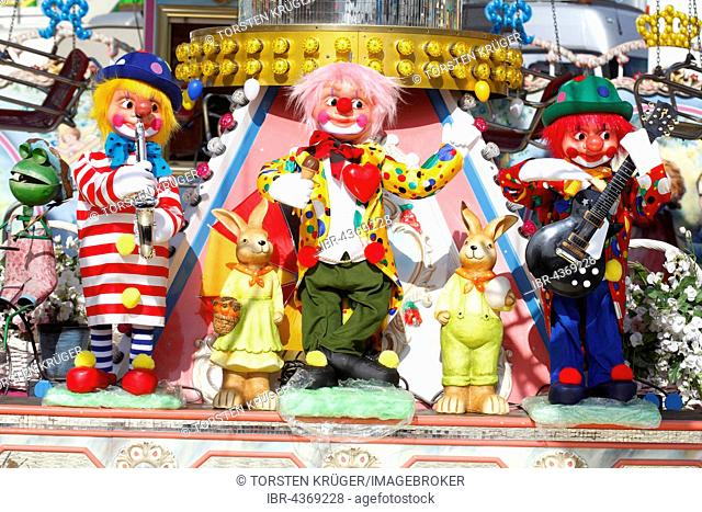 Clowns as decoration on a carousel, fair on the Bremer Osterwiese, Bürgerweide, Bremen, Germany