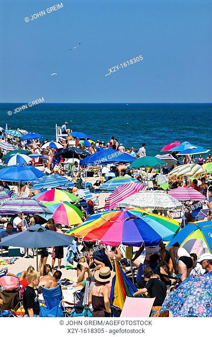 Crowded summer beach with colorful umbrellas, Nauset Beach, Cape Cod National Seashore, Cape Cod, MA, Massachusetts, USA