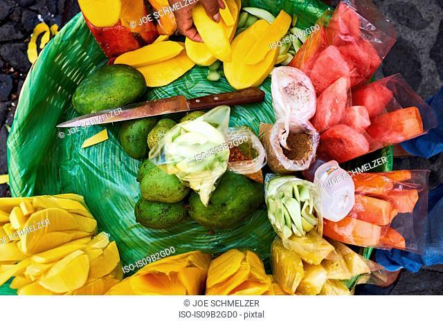 Overhead view of freshly sliced fruit in basket, Antigua, Guatemala
