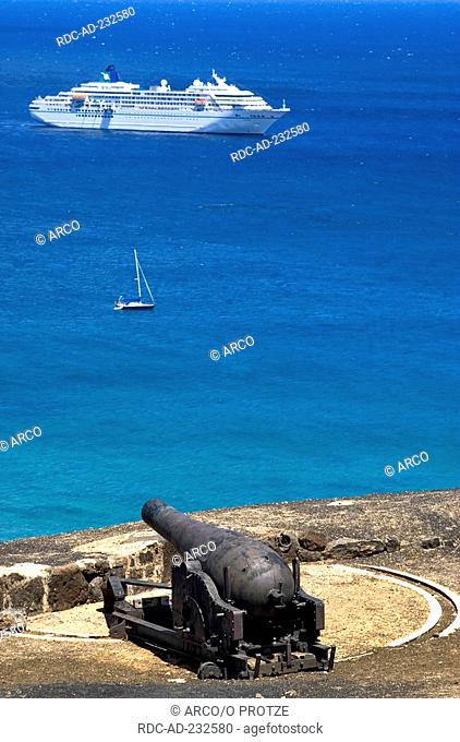 Cruise ship Amadea, coast of Georgetown, view from old fort at Cross Hill, Ascension, St Helena, British overseas territories, old cannon