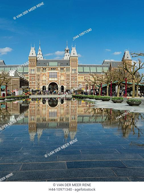 Netherlands, Holland, Europe, Amsterdam, Rijksmuseum, city, water, spring, reflections
