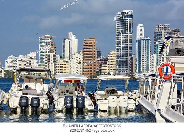 Motorboats in harbor, Marina Santa Cruz, Bocagrande, Cartagena de Indias, Bolivar, Colombia