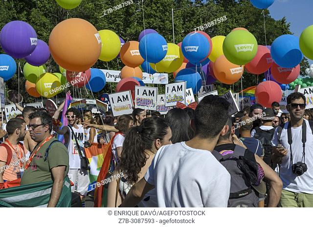 Madrid, Spain, 7 th July 2018. Gay pride parade with participants in Atocha square, 7 th July 2018, Madrid