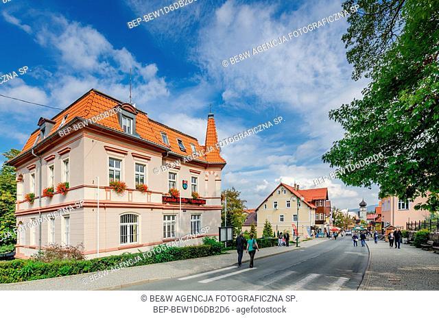 KARPACZ, LOWER SILESIAN PROVINCE / POLAND - SEPTEMBER 28, 2018: Town Hall on the main street: Konstytucji 3 maja