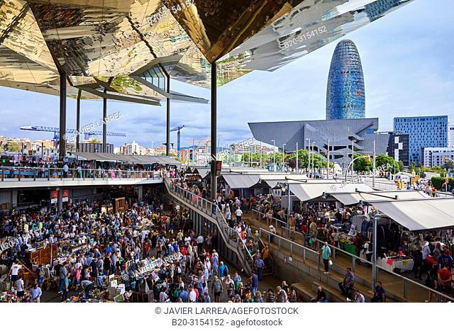 Encants Market, Design Museum of Barcelona, Agbar Tower, Plaça de les Glòries, Barcelona, Catalunya, Spain, Europe