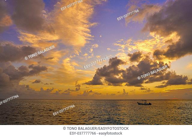Riviera Maya sunset in Caribbean Mayan Mexico