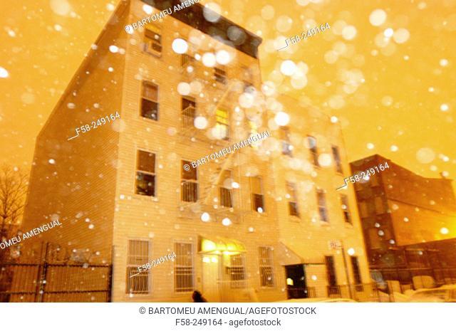 Snow storm in Williamsburg, Brooklyn. New York City. USA