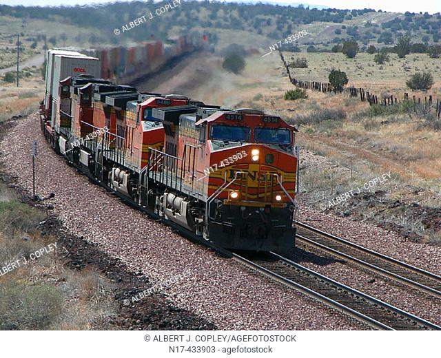 Locomotives pulling long train