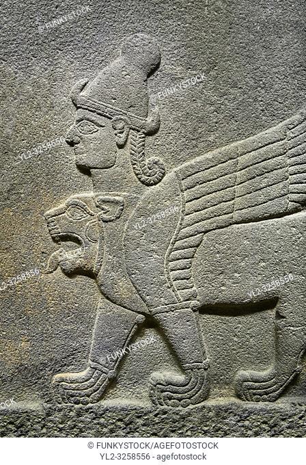 Hittite relief sculpted orthostat stone panel of Herald's Wall Basalt, Karkamis, (Kargamis), Carchemish (Karkemish), 900-700 B.C. Chimera