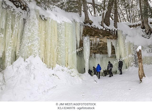 Eben Junction, Michigan - The Eben Ice Caves, also known as the Rock River Canyon Ice Caves. The caves are located in the Rock River Canyon Wilderness of...
